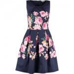 granayowa sukienka w kwiatki