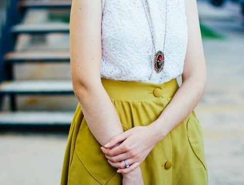 kobieta, strój, spódnica